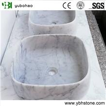 Bianco Carrara/White Marble Vessel Bowl for Bath
