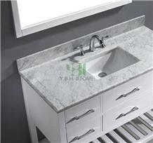 Carrara White Bath Tops, Wood Vanity Countertop