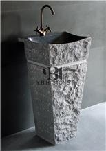China Black Pedestal Stone Basin/Sink for Bathroom