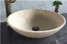 Beige Marble Cream Marfil Wash Basin Bathroom Sinks