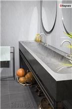 Carbon Grey Quartzite Bathroom Vanity Top, Farm Sink