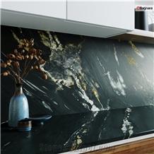Kuroca Quartzite Kitchen Countertop, Backsplash