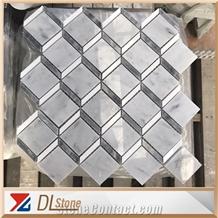 3d Effect Carrara White Floor Mosaic Art Tile