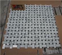 Carrara White Nero Marquina Dots Basketweave Mosaic