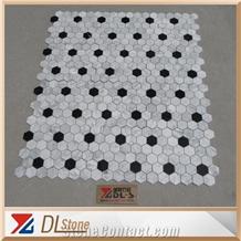 Carrara White Nero Marquina Round Dots Basketweave Mosaic