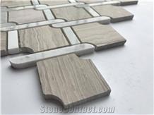 China White Oak Marble Mosaic Pattern Wall Tiles