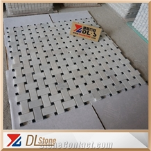 Honed Carrara White Basketweave Mosaic Black Marquina Dots