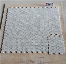 Honed Carrara White Marble Hexagon Mosaic