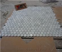 Honed Polished Carrara White Marble Hexagon Mosaic Tiles