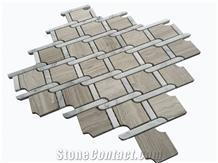 White Wood Grain Marble Mosaic Design Tile