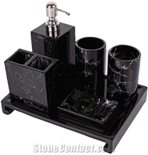 Black Handcrafted Marble Bathroom Accessories