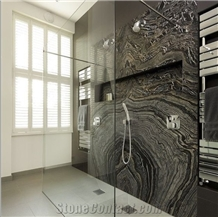 Black Wooden Marble Slab Booking Match Wall Panel