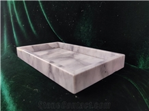 White Marble Craft Honed Rectangle Towel Tray Hotel Design