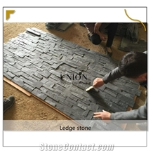Black-Cultured Slate Format 18x35 Panel Stone for Wall Decor