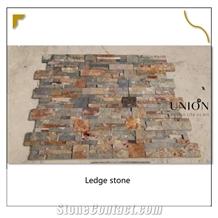Multicolor Stack Ledge Glued Ledgestone Pane Wall Interlock