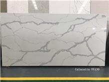 Calacatta V002 White Quartz Engineered Stone Slabs