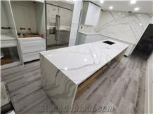 White Calacatta Quartz Kitchen Island Countertop