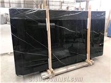 China Black Nero Negro Marquina with Vein Marble Slabs Tiles