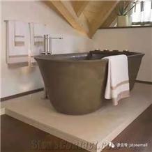 Italy Roma Rosewood Sandstone Purple Honed Stone Bathtub