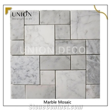 French Shape Dot House Water-Jet Marble Mosaic Tiles Pattern