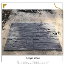House Decorated with Dark Black Slate Wall Panel Ledge Stone