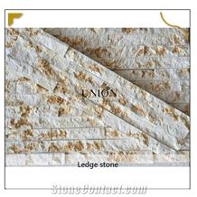Ledger Golden Vein White Quartzite Thin Natural Stone Indoor