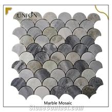 Modern Marble Tile Water-Jet Grey Sector Wall&Floor Mosaic