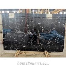 High Quality Dark Black Ice Flower Marble Slab