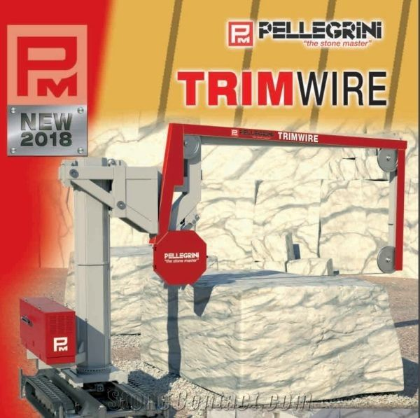 Mobile single wire saw for squaring and cutting thick slabs