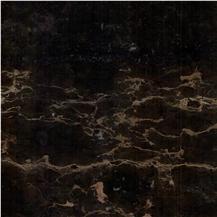 Fantasy Black Gold Flower Marble