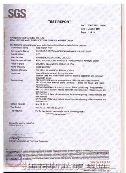 Red Porphyry Certificate