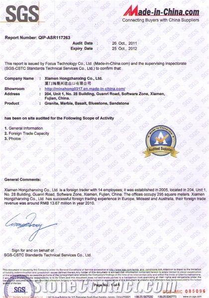 HZX STONE Company Certificate