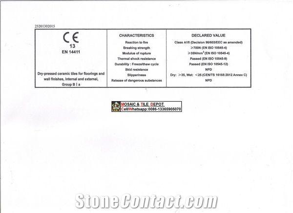 Porcelain Mosaic C.E Certificate