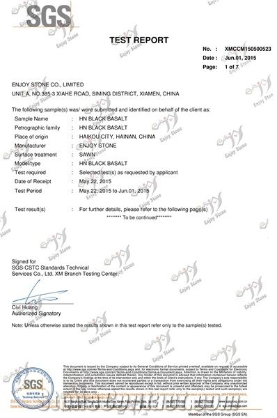 HN BLACK BASALT SGS TEST REPORT
