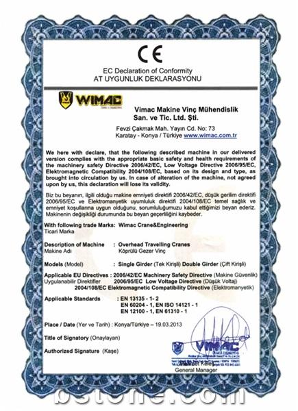 Wimac CE Certificate