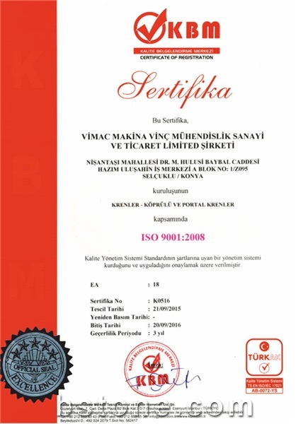 Wimac ISO 9001-2008 Certificate