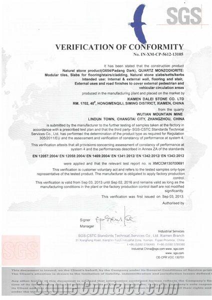 G654 Granite CE Certificate
