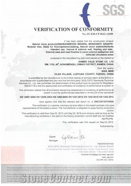 G664 Granite CE Certificate