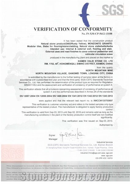 G682 Granite CE Certificate