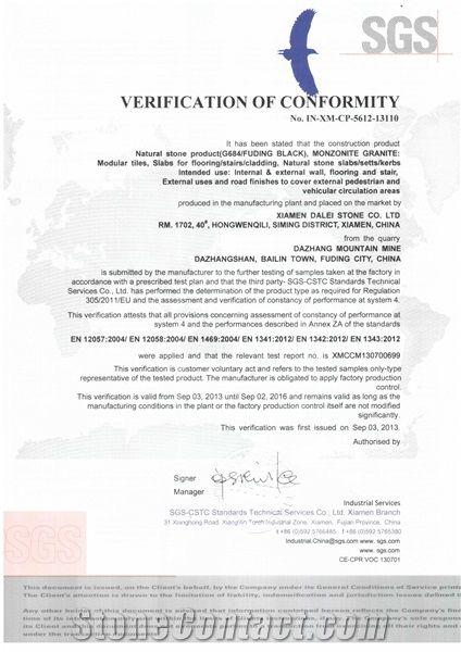G684 Granite CE Certificate