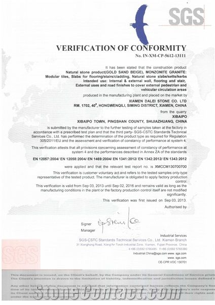 Gold Sand Beige Granite CE Certificate