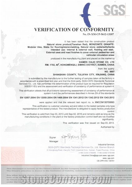 Tianshan Red Granite CE Certificate