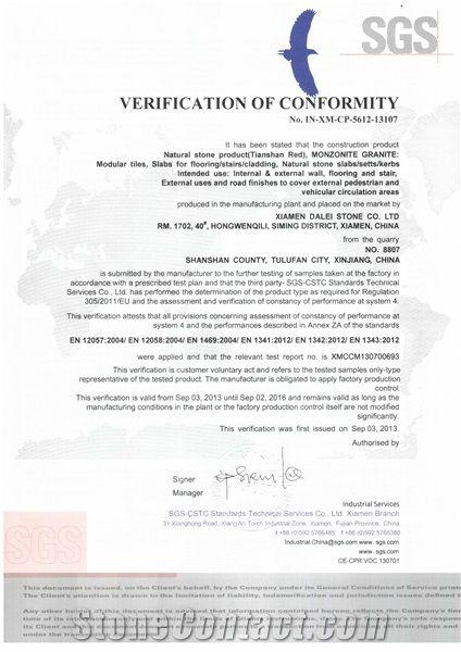 Tianshan Red Granite CE Certificate
