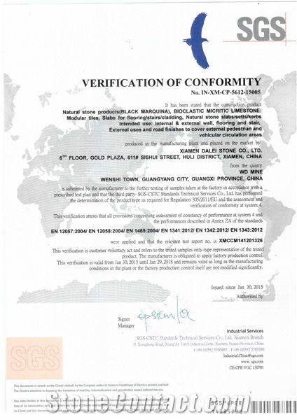 Black Marquina Marble CE Certificate