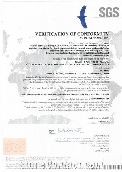 Jiangxi G603 Silver Grey Granite CE Certificate