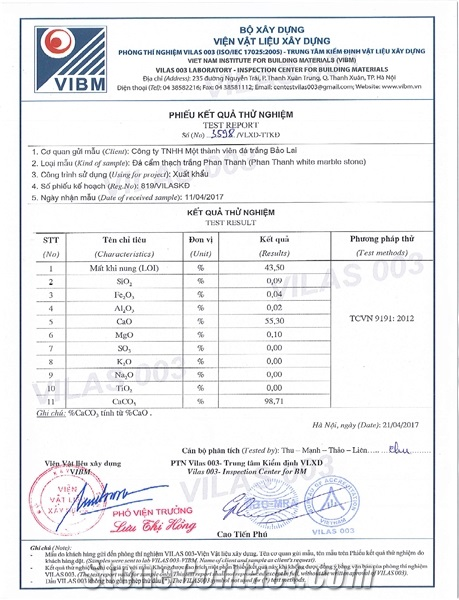 TEST REPORT - White Marble Stone Phan Thanh