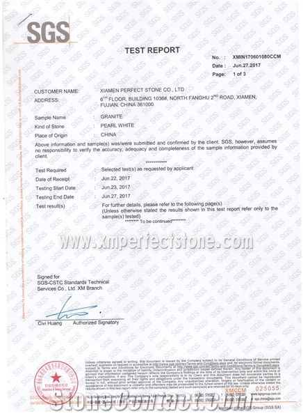 Pearl White Granite Test Report