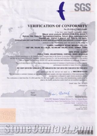 CE CERTIFICATE  FOR MONGOLIA BLACK BASALT