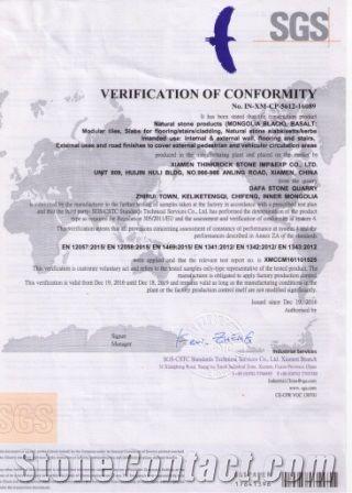 CE CERTIFICATE  FOR MONGOLIA BLACK BASALT