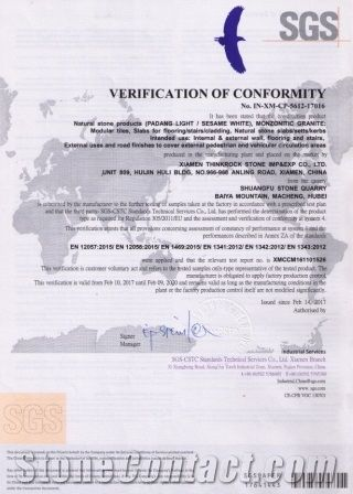 CE CERTIFICATE FOR SEASAME WHITE GRANITE